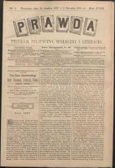 Prawda : tygodnik polityczny, społeczny i literacki, 1898, R. 18, nr 1