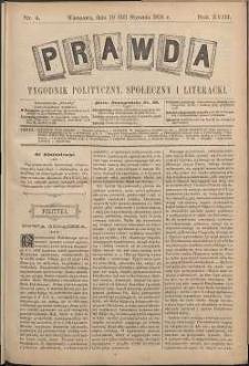 Prawda : tygodnik polityczny, społeczny i literacki, 1898, R. 18, nr 4