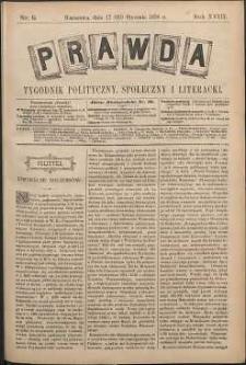 Prawda : tygodnik polityczny, społeczny i literacki, 1898, R. 18, nr 5