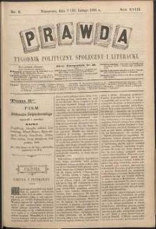 Prawda : tygodnik polityczny, społeczny i literacki, 1898, R. 18, nr 8