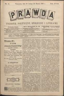 Prawda : tygodnik polityczny, społeczny i literacki, 1898, R. 18, nr 11