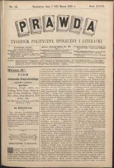 Prawda : tygodnik polityczny, społeczny i literacki, 1898, R. 18, nr 12