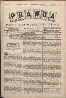 Prawda : tygodnik polityczny, społeczny i literacki, 1898, R. 18, nr 17