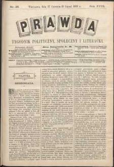 Prawda : tygodnik polityczny, społeczny i literacki, 1898, R. 18, nr 28