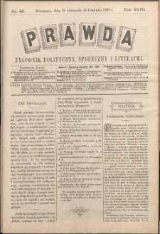 Prawda : tygodnik polityczny, społeczny i literacki, 1898, R. 18, nr 49