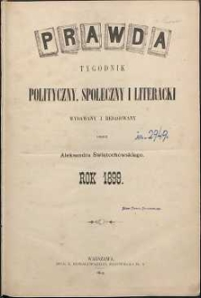 Prawda : tygodnik polityczny, społeczny i literacki, 1899, R. 19, spis rzeczy