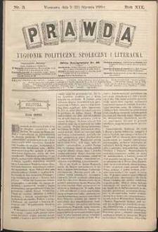Prawda : tygodnik polityczny, społeczny i literacki, 1899, R. 19, nr 3