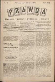 Prawda : tygodnik polityczny, społeczny i literacki, 1899, R. 19, nr 11