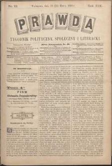 Prawda : tygodnik polityczny, społeczny i literacki, 1899, R. 19, nr 12