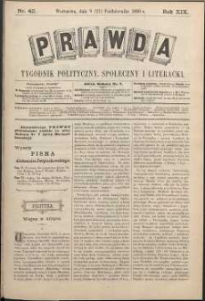 Prawda : tygodnik polityczny, społeczny i literacki, 1899, R. 19, nr 42