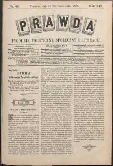 Prawda : tygodnik polityczny, społeczny i literacki, 1899, R. 19, nr 43