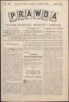Prawda : tygodnik polityczny, społeczny i literacki, 1899, R. 19, nr 49