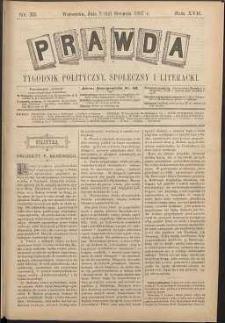 Prawda : tygodnik polityczny, społeczny i literacki, 1897, R. 17, nr 33