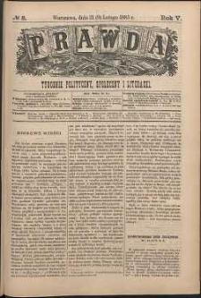 Prawda : tygodnik polityczny, społeczny i literacki, 1885, R. 5, nr 8