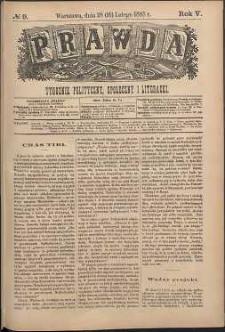 Prawda : tygodnik polityczny, społeczny i literacki, 1885, R. 5, nr 9