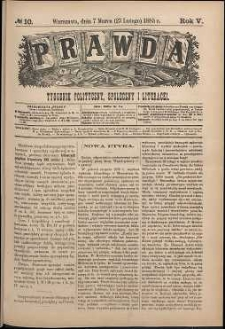 Prawda : tygodnik polityczny, społeczny i literacki, 1885, R. 5, nr 10