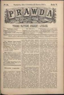 Prawda : tygodnik polityczny, społeczny i literacki, 1885, R. 5, nr 14