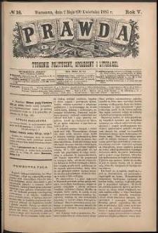 Prawda : tygodnik polityczny, społeczny i literacki, 1885, R. 5, nr 18