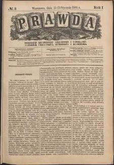 Prawda : tygodnik polityczny, społeczny i literacki, 1881, R. 1, nr 3