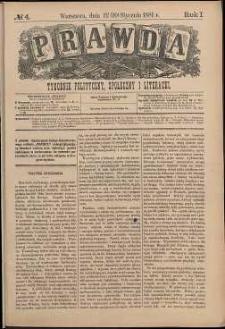 Prawda : tygodnik polityczny, społeczny i literacki, 1881, R. 1, nr 4
