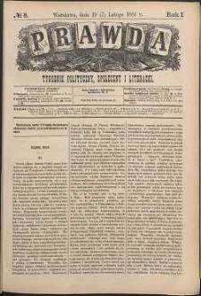 Prawda : tygodnik polityczny, społeczny i literacki, 1881, R. 1, nr 8