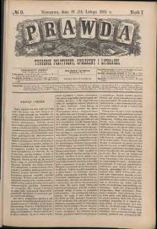 Prawda : tygodnik polityczny, społeczny i literacki, 1881, R. 1, nr 9