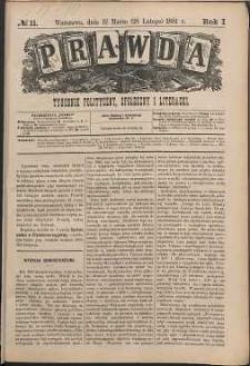Prawda : tygodnik polityczny, społeczny i literacki, 1881, R. 1, nr 11
