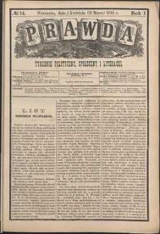 Prawda : tygodnik polityczny, społeczny i literacki, 1881, R. 1, nr 14