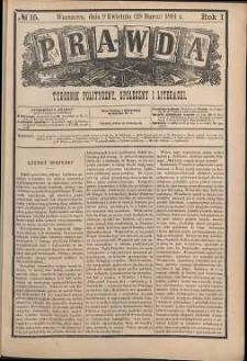 Prawda : tygodnik polityczny, społeczny i literacki, 1881, R. 1, nr 15