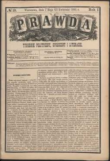 Prawda : tygodnik polityczny, społeczny i literacki, 1881, R. 1, nr 19