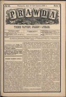 Prawda : tygodnik polityczny, społeczny i literacki, 1881, R. 1, nr 26
