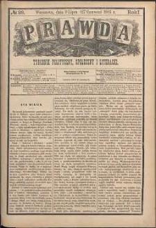 Prawda : tygodnik polityczny, społeczny i literacki, 1881, R. 1, nr 28
