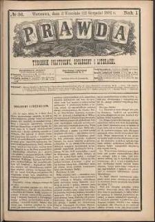 Prawda : tygodnik polityczny, społeczny i literacki, 1881, R. 1, nr 36