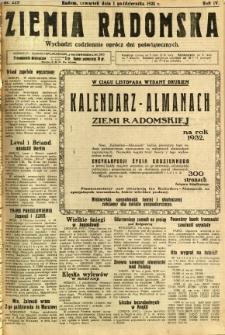 Ziemia Radomska, 1931, R. 4, nr 225