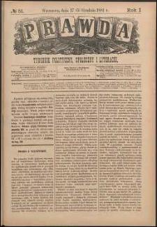 Prawda : tygodnik polityczny, społeczny i literacki, 1881, R. 1, nr 51