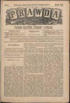 Prawda : tygodnik polityczny, społeczny i literacki, 1883, R. 3, nr 1