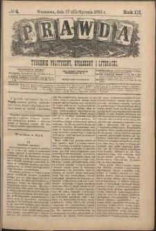 Prawda : tygodnik polityczny, społeczny i literacki, 1883, R. 3, nr 4