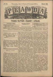 Prawda : tygodnik polityczny, społeczny i literacki, 1883, R. 3, nr 10
