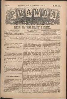 Prawda : tygodnik polityczny, społeczny i literacki, 1883, R. 3, nr 13