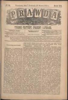 Prawda : tygodnik polityczny, społeczny i literacki, 1883, R. 3, nr 14