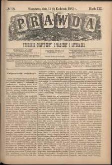 Prawda : tygodnik polityczny, społeczny i literacki, 1883, R. 3, nr 15