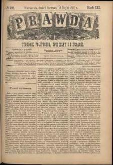 Prawda : tygodnik polityczny, społeczny i literacki, 1883, R. 3, nr 22