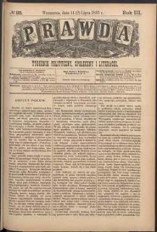 Prawda : tygodnik polityczny, społeczny i literacki, 1883, R. 3, nr 28