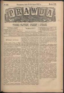 Prawda : tygodnik polityczny, społeczny i literacki, 1883, R. 3, nr 29