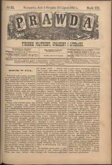 Prawda : tygodnik polityczny, społeczny i literacki, 1883, R. 3, nr 31
