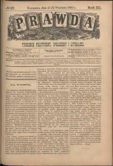 Prawda : tygodnik polityczny, społeczny i literacki, 1883, R. 3, nr 37