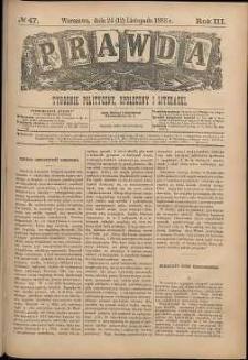 Prawda : tygodnik polityczny, społeczny i literacki, 1883, R. 3, nr 47