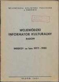 Wojewódzki Informator Kulturalny Radom : Indeksy za lata 1977-1980