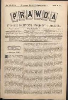 Prawda : tygodnik polityczny, społeczny i literacki, 1902, R. 22, nr 17
