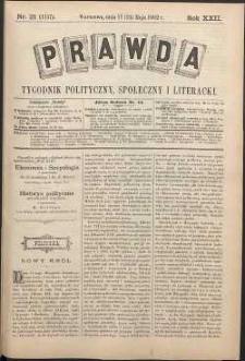 Prawda : tygodnik polityczny, społeczny i literacki, 1902, R. 22, nr 21